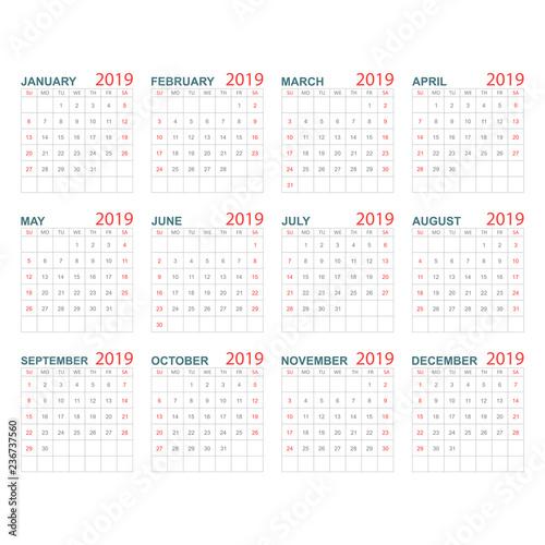 Calendar 2019 Year In Simple Style Calendar Planner Design Template