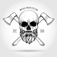 Hand drawn sketch, skull with axes