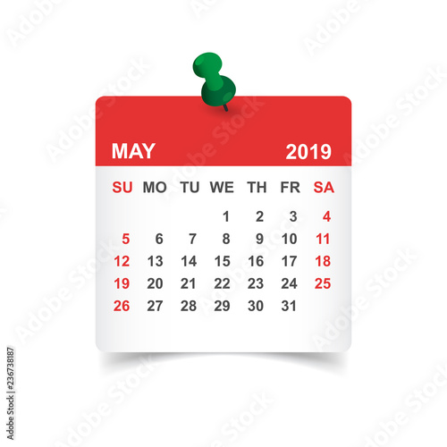 calendar may 2019 year in paper sticker with pin calendar planner