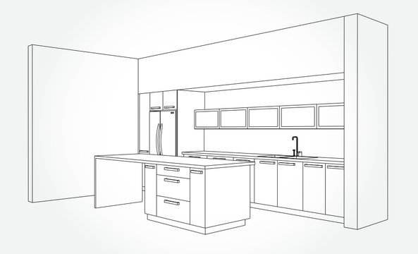 Hand drawn kitchen furniture. Vector illustration in sketch style. vector illustration kitchen furniture and equipment.