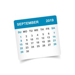 Calendar september 2019 year in paper sticker with shadow. Calendar planner design template. Agenda september monthly reminder. Business vector illustration.
