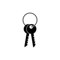 Black isolated icon of keys on white background. Silhouette of key. Flat design.