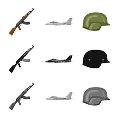 Vector illustration of weapon and gun icon. Collection of weapon and army stock symbol for web.