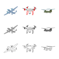 Vector illustration of plane and transport sign. Collection of plane and sky vector icon for stock.