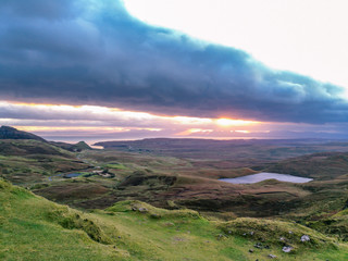Sunrise over the Quiraing on the Isle of Skye in Scotland.