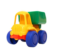 Colored small toy truck. White isolate.