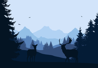 Realistic illustration of mountain landscape with forest and two deer, under blue sky with flying birds