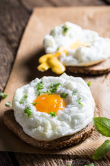 Cloud egg on toast