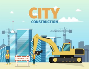 Vector Concept Modern City Construction Buildings