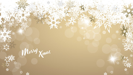 Christmas golden vector background illustration with snowflakes and Merry Christmas text