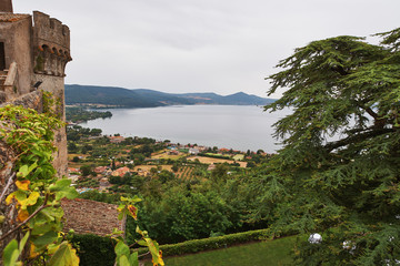 Panoramic view of lake Bracciano in Italy