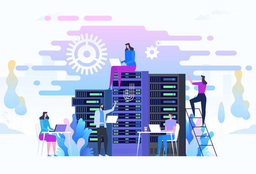 System administrators or sysadmins are servicing server racks.