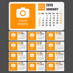 Calendar 2019 year in simple style. Calendar planner design template. Agenda monthly template with photo. Business vector illustration.