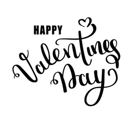 Happy Valentines day vector card. Happy Valentines Day lettering on a white background. Vector Illustrations