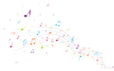 Colorful music notes background Fotobehang