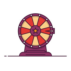 Wheel of fortune line style vector illustration. Spin roulette game. Win or lose lottery concept. Outline flat illustration.