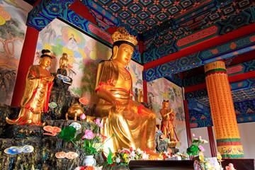 Bodhisattva golden body sculpture in Hengshan Dajue Temple, Luan County, Hebei Province, China