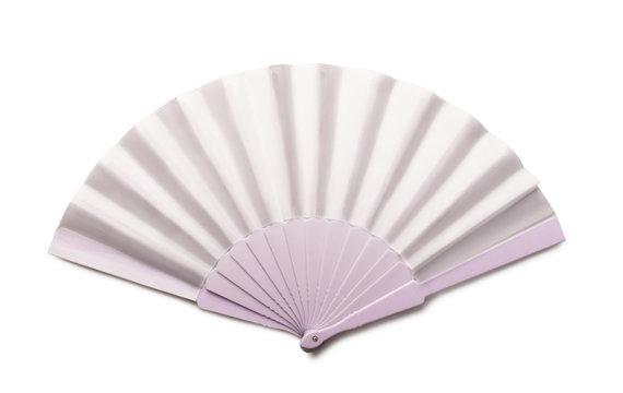 White folding hand fan mockup isolated