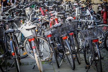 A lot of bicycles parked in the Danish city of Aarhus
