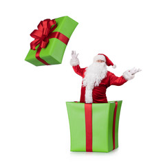 Happy Samta Claus jumping out of the christmas box isolated on white background with copy space