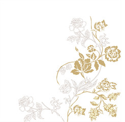 Monochromic lines illustration with a   branch of roses