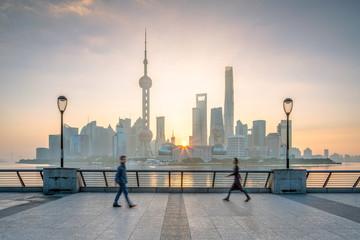 Shanghai skyline mit Oriental Pearl Tower