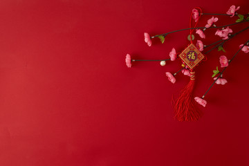 chinese new year 2019 red backgroung. flat lay