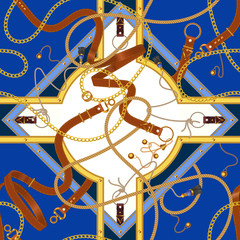 Chains and belts with moldings. Vector seamless pattern for scarf, fabric.
