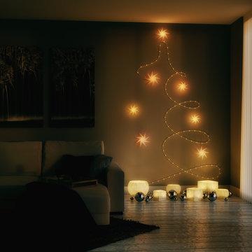 Wohnzimmer mit weihnachtlicher Dekoration - 3D render