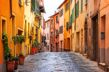 Photo on textile frame European Famous Place Beautiful alley in Tuscany, Old town Montepulciano, Italy