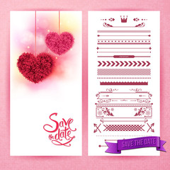 Pink save the date hearts and icons