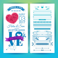 Sentimental blue wedding invitation design vector image