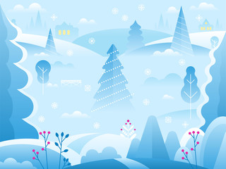 Winter landscape background for banner, greeting card, poster and advertising.
