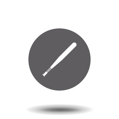 Vector flat white baseball bat icon on gray background