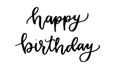 Black color hand writing in word happy birthday on white background (vector)