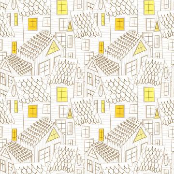 Retro small town seamless pattern