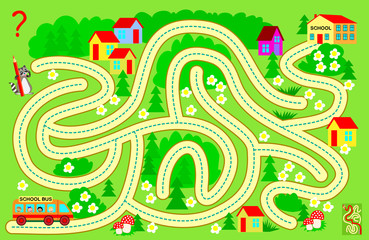 Logic puzzle game with labyrinth for children and adults. Help the school bus bring the children to school. Find the way and draw the line. Vector cartoon image.