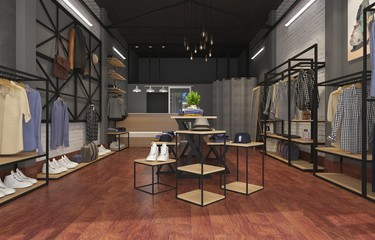 3d render fashion store