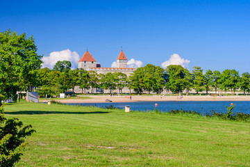 Sightseeing of Estonia. A summer view of Kuressaare castle, Saaremaa island