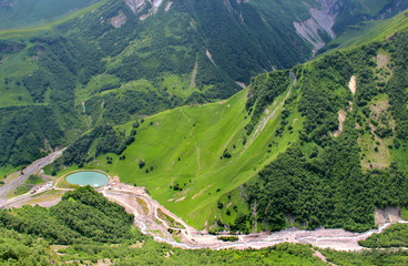 Beautiful view of Georgian mountains Kazbegi,