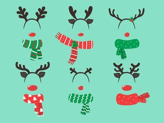 Merry Christmas Photo Booth Props, Fun Party printable masks, nose, deer, north pole sign. Vector illustration.