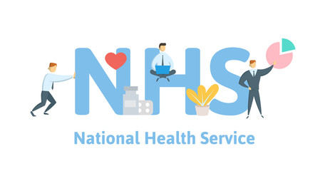 NHS, National Health Service. Concept with keywords, letters and icons. Colored flat vector illustration on white background.