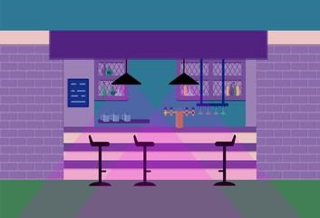 Bar counter in pub. Vector flat illustration. Violet tone. Eps 10.