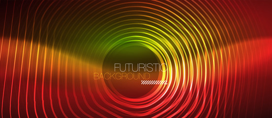 Neon glowing wave, magic energy and light motion background. Vector wallpaper template