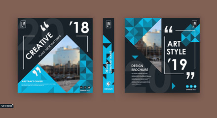 Abstract patch brochure cover design. Black info data banner frame. Techno title sheet model set. Modern vector front page art. Urban city blurb texture. Blue citation figure icon. Ad flyer text