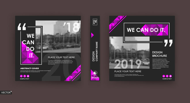 Abstract patch brochure cover design. Black info data banner frame. Techno title sheet model set. Modern vector front page art. Urban city blurb texture. Pink citation figure icon. Ad flyer text