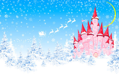 Pink castle, forest, winter, Santa. Cartoon pink castle on the background of winter snow-covered forest