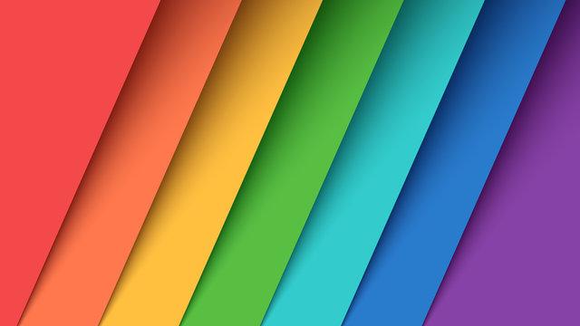 Set seven color paper. Rainbow.