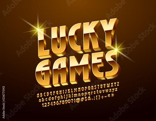 Vector bright Logo Lucky Games  Golden 3D Font  Stylish