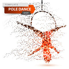 Pole dance, exotic, striptease - dot illustration.